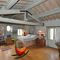 Casa del Rosmarino: The master bedroom with high ceilings and carefully deigned layout