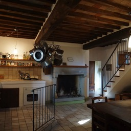 La Casina: The kitchen / Dining room, again with open fireplace