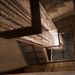 La Taverna al Monte: One of the modern design features, lighting, staircase