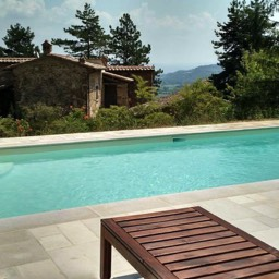 Palazzolo Farmhouse: The recently installed swimming pool, one of two swimming pools on offer at this vacation property, Tuscany